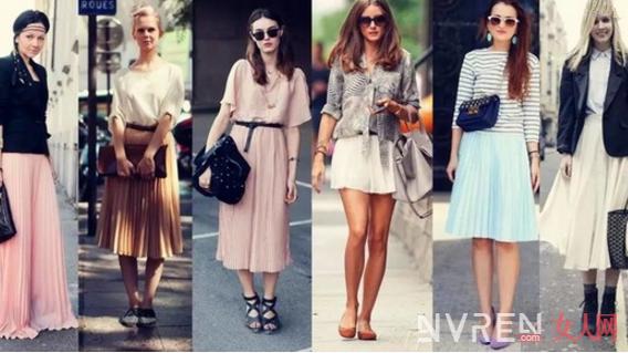 街拍潮人们是如何利用中长半裙来搭配 穿出时尚美丽范儿